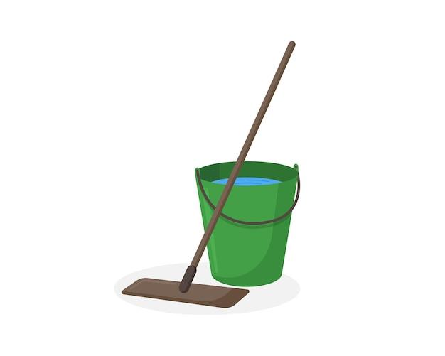 Mop e secchio verde con illustrazione vettoriale di acqua. icona piana isolata dell'attrezzatura di servizio di pulizia del pavimento bagnato