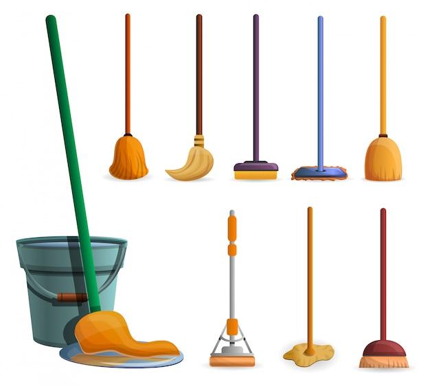 Set di icone mop. insieme del fumetto delle icone di vettore di zazzera per il web design Vettore Premium