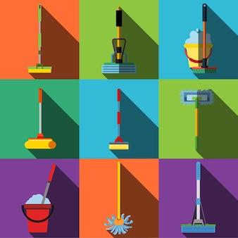 Icone piane di vettore di scopa. un semplice set di illustrazioni di 9 elementi mop, icone modificabili, può essere utilizzato nel logo, nell'interfaccia utente e nel web design