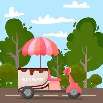Motorino con gelato sulla strada