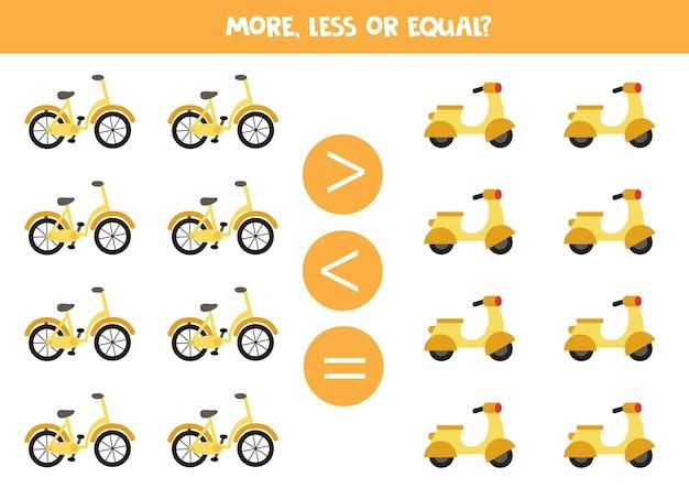 Più, meno, uguale alla bicicletta e al ciclomotore dei cartoni animati. gioco di matematica.