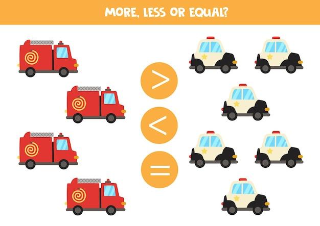 Più, meno, uguale al camion dei pompieri dei cartoni animati e alla macchina della polizia. gioco di matematica.