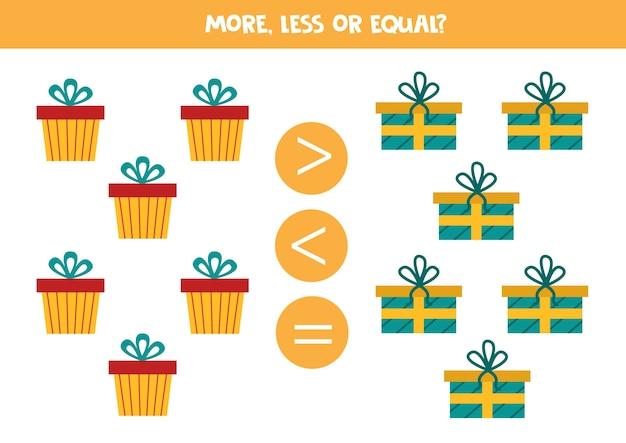 Più, meno o uguale con le scatole regalo dei cartoni animati. gioco di matematica educativo per bambini.