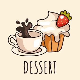Colazione mattutina dessert tazza di caffè e cupcake isolato logo adesivo elemento di design