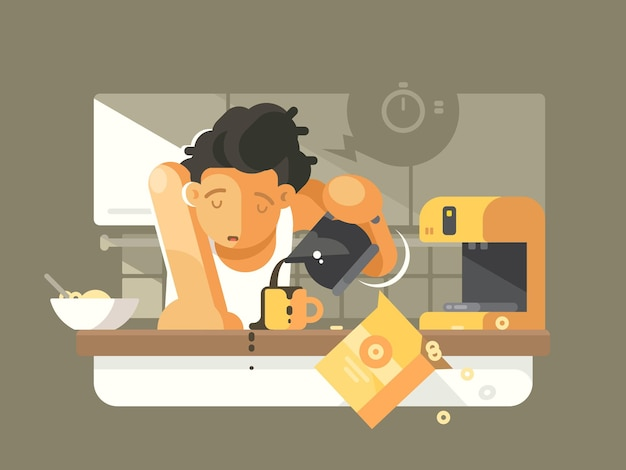 Caffè del mattino in cucina. il ragazzo assonnato versa la bevanda nera nella tazza. illustrazione