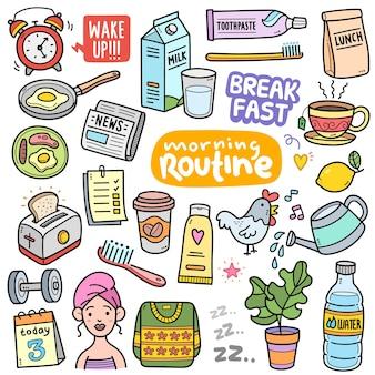 Elementi grafici vettoriali colorati di routine mattutina e illustrazioni scarabocchiate
