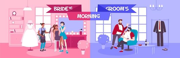 I preparativi per il matrimonio mattutino nella bottega del barbiere con la sposa e lo sposo si radono la barba