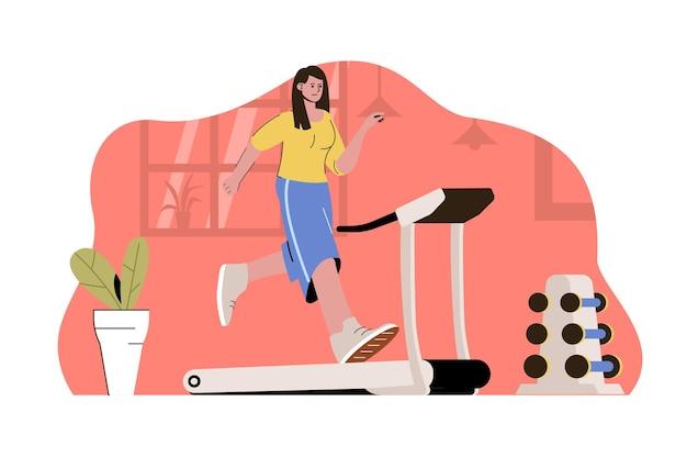 Concetto di allenamento mattutino donna che corre sul tapis roulant in palestra?