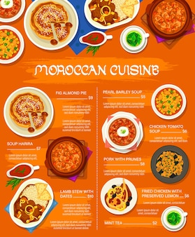 Menu dei pasti della cucina marocchina. pollo fritto con limone conservato, stufato di agnello con datteri e maiale con prugne, torta di fichi e mandorle e tè alla menta, pomodoro pollo, orzo perlato e zuppe di harira