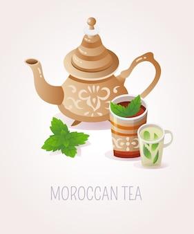 Illustrazione tradizionale marocchina che serve tè tea