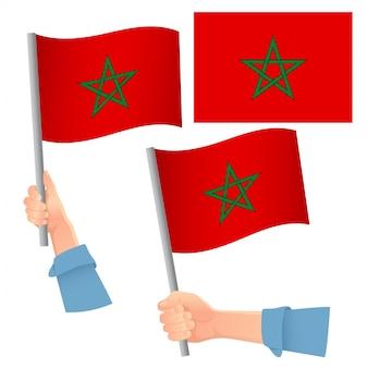 Bandiera del marocco in mano insieme
