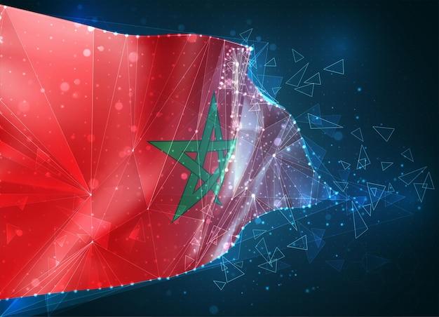 Marocco, bandiera, oggetto 3d astratto virtuale da poligoni triangolari su sfondo blu