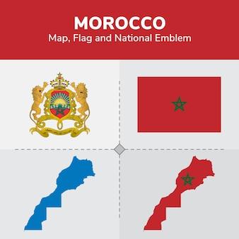 Mappa del marocco, bandiera e emblema nazionale