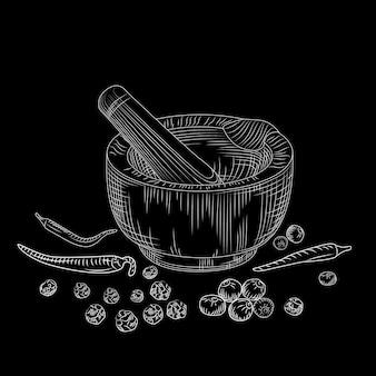 Concetto del pestello e del mortaio sulla lavagna. set di pepe spezie da macinazione e ingredienti alimentari.