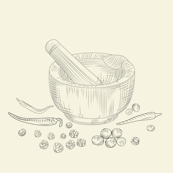 Concetto di mortaio e pestello. set di pepe spezie da macinazione e ingredienti alimentari.