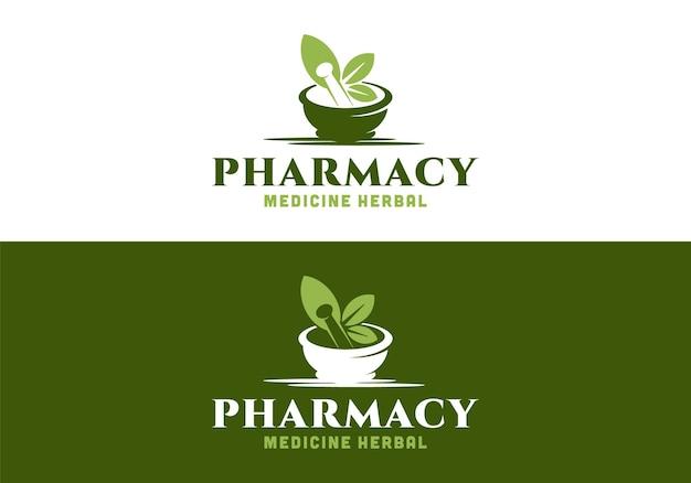 Mortaio, pestello, foglia. ispirazione del modello di progettazione del logo della medicina della farmacia medica