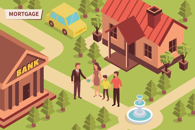 Illustrazione isometrica all'aperto della banca di ipoteca
