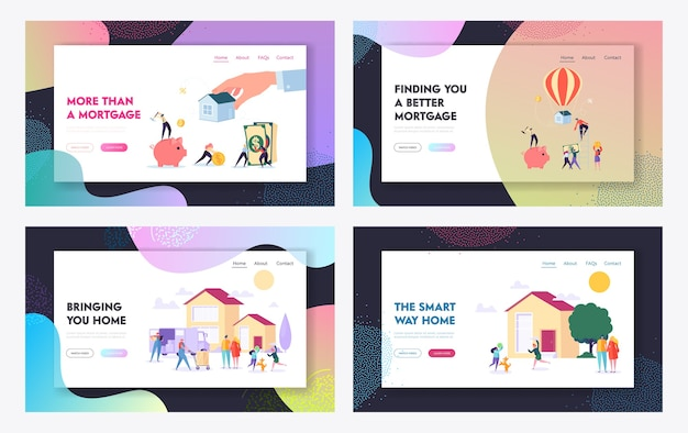 Set di modelli di pagina di destinazione del sito web di concetto di casa di acquisto e mutuo.