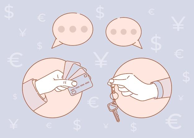 Illustrazione del fumetto di prestito ipotecario, auto in affitto, casa o appartamento. chiavi e carte di credito.