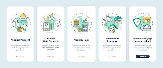 Elementi di pagamento ipotecario onboarding schermata della pagina dell'app mobile con concetti.