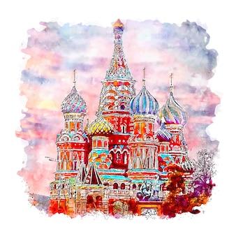 Illustrazione disegnata a mano di schizzo dell'acquerello di mosca piazza rossa russia