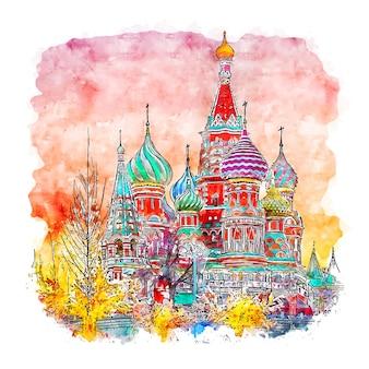 Illustrazione disegnata a mano di schizzo dell'acquerello di mosca russia