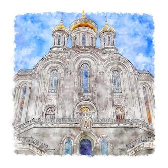 Illustrazione disegnata a mano di schizzo dell'acquerello del monastero di mosca sretensky