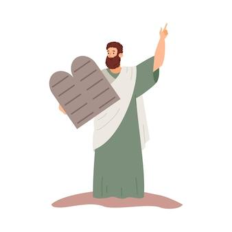 Mosè che tiene in mano una pietra con dieci comandamenti illustrazione vettoriale piatta isolata