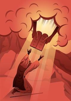 Mosè sta ricevendo i dieci comandamenti da dio sul monte sinai. serie biblica