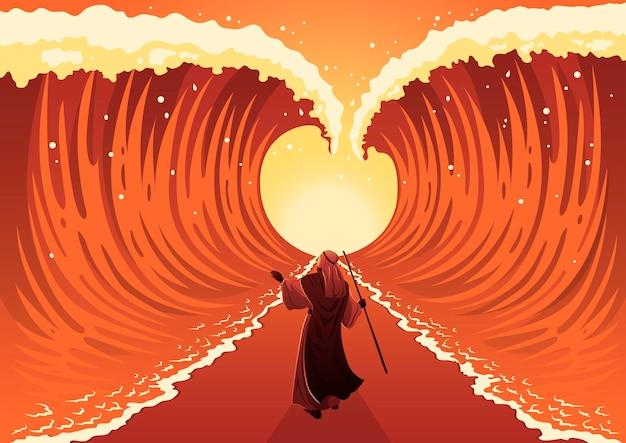 Mosè compie un miracolo dividendo la serie biblica del mar rosso