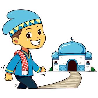 Carattere del ragazzo musulmano che va alla moschea.