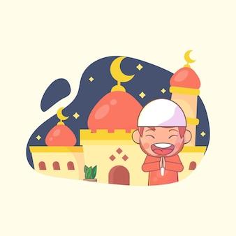 Ragazzo musulmano che saluta il ramadan kareem islamico