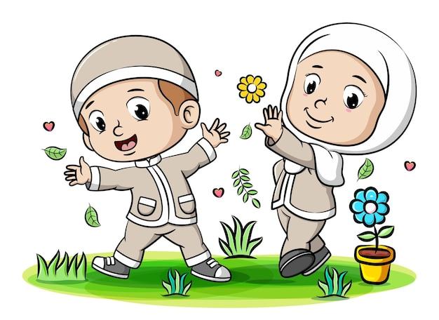 I bambini musulmani giocano insieme ai fiori e alle foglie nel giardino dell'illustrazione