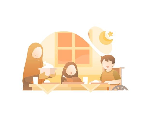 La famiglia musulmana mangia insieme illustrazione