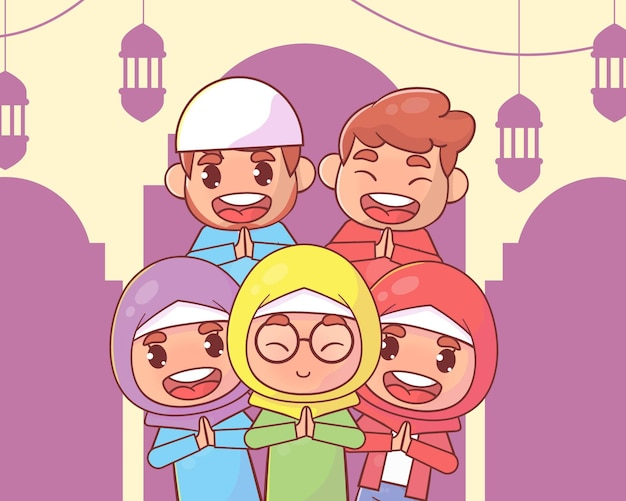 Famiglia musulmana saluto ramadan kareem islamico
