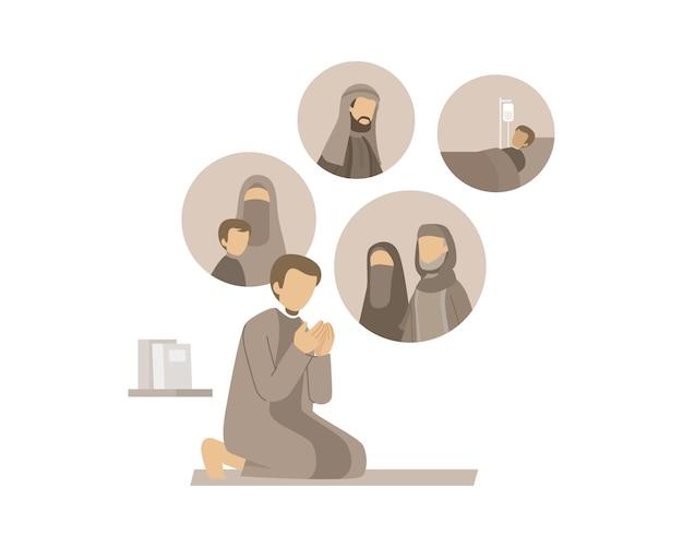 Un uomo musulmano prega per la sua illustrazione di famiglia
