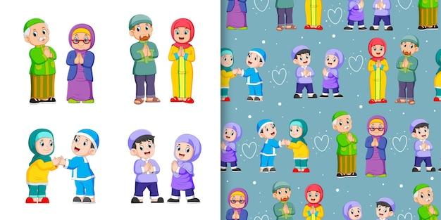 Persone musulmane che si congratulano a vicenda, set di modelli e illustrazioni