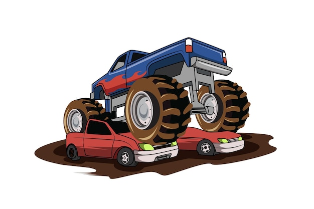 Mosnter 4x4 fuoristrada grande camion illustrazione disegno a mano