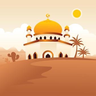 Moschea sul paesaggio islamico del deserto, stile piatto