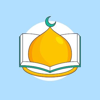Cupola della moschea all'interno dell'illustrazione del libro per il disegno vettoriale del modello del logo della fondazione per l'educazione musulmana