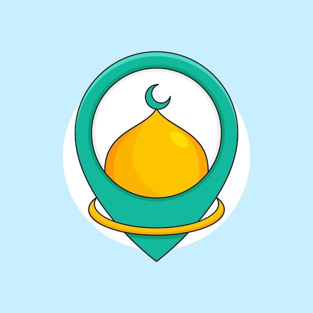Cupola della moschea sull'illustrazione della posizione del perno della mappa per il design dell'icona del modello del logo del luogo di culto islamico