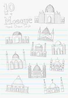 Moschea disegnata a mano in bianco carta nota stile vettoriale