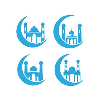 Modello di pacchetto set di icone moschea isolato