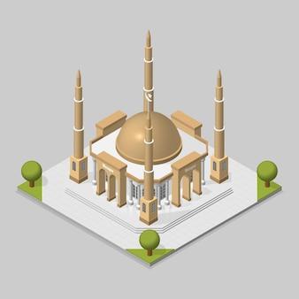 Concetto basato sul vettore dell'illustrazione isometrica della moschea