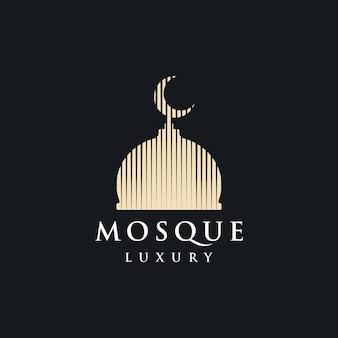 Progettazione dell'illustrazione dell'icona di lusso semplice di vettore di logo della moschea