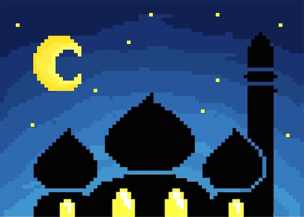 Moschea a mezzanotte con stile pixel art Vettore Premium