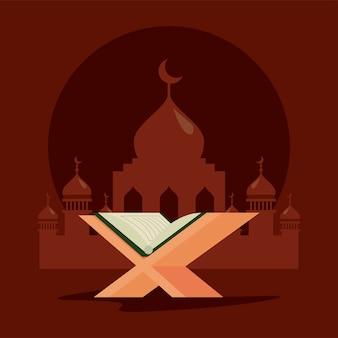 Moschea e libro del corano
