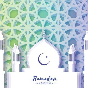 Moschea. ramadan kareem biglietto di auguri con arabeschi arabi finestra. luna crescente.