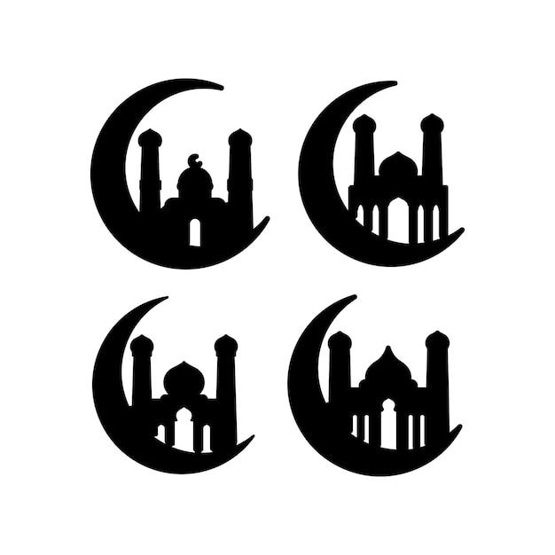 Modello del pacchetto stabilito dell'icona della siluetta della moschea isolato