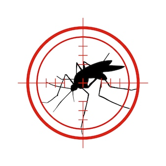 Zanzara nell'obiettivo rosso. anti zanzare, simbolo di vettore di controllo di insetto epidemico di dengue isolato